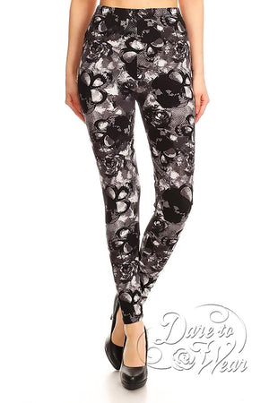 Dare to Wear Victorian Gothic Steampunk Peached Leggings in Skulls n Roses