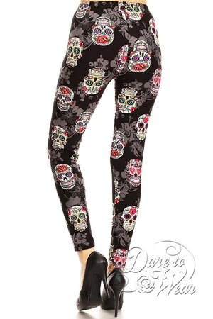 Peached Leggings in Sugar Skulls | Colorful Black Day of Dead Tights Back