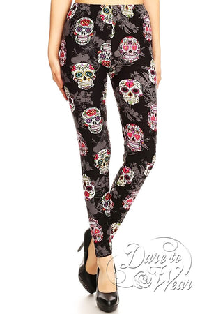 Dare to Wear Victorian Gothic Steampunk Peached Leggings in Sugar Skulls
