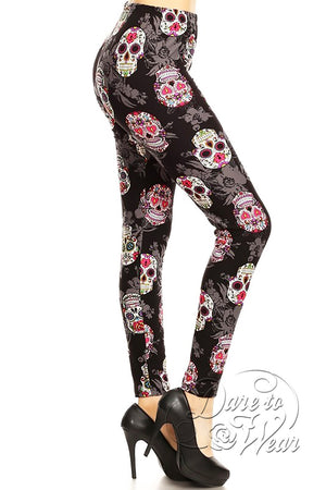 Peached Leggings in Sugar Skulls | Colorful Black Day of Dead Tights Side