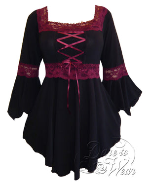 Dare Fashion Renaissance Top F05 BlackBurgundy Victorian Gothic Corset Blouse