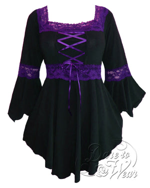 Dare Fashion Renaissance Top F05 BlackPurple Victorian Gothic Corset Blouse