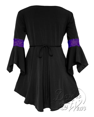 Dare Fashion Renaissance Top F05 BlackPurpleB Victorian Gothic Corset Blouse