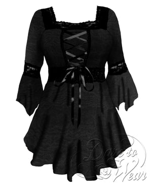 Dare to Wear Victorian Gothic Steampunk Renaissance Corset Top in Black Rain
