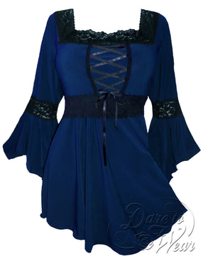 Dare Fashion Renaissance Top F05 Midnight Victorian Gothic Corset Blouse