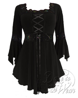 Dare to Wear Victorian Gothic Steampunk Renaissance Corset Top in Starling