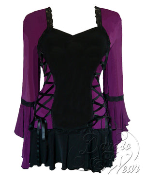 Dare Fashion Bolero Top F29 Plum Victorian Steampunk Lace Corset Blouse