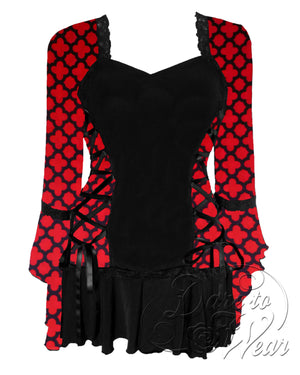 Dare Fashion Bolero Top F29 RedQueen Victorian Steampunk Lace Corset Blouse