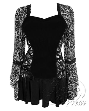 Dare Fashion Bolero Top F29 SilverCheetah Victorian Steampunk Lace Corset Blouse