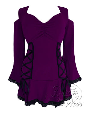 Dare Fashion Temptation Top F45 Plum Gothic Victorian Corset Tunic