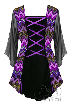 Dare To Wear Victorian Gothic Women's Plus Size Mandarin Corset Top Purple Wave