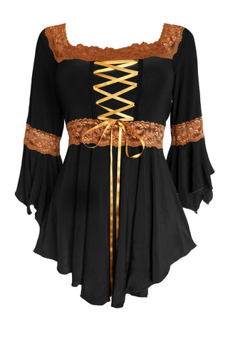 Halloween Witch Costume with  Renaissance Top and a Witch Hat