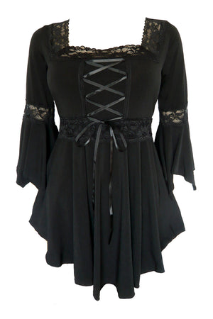 Dare to Wear Victorian Gothic Steampunk Renaissance Corset Top in Black