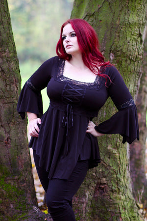 Evie in Dare to Wear Victorian Gothic Steampunk Renaissance Corset Top in Black, HandsHips