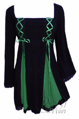 Dare To Wear Victorian Gothic Women's Gemini Princess Corset Top Black/Emerald