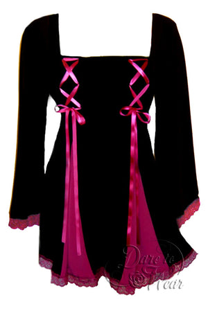 Dare To Wear Victorian Gothic Women's Gemini Princess Corset Top Black/Fuchsia