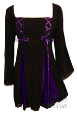 Dare To Wear Victorian Gothic Women's Gemini Princess Corset Top Black/Purple