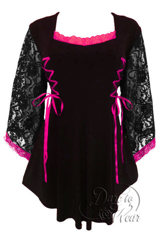 Dare To Wear Victorian Gothic Women's Plus Size Anastasia Corset Top Black/Fuschia