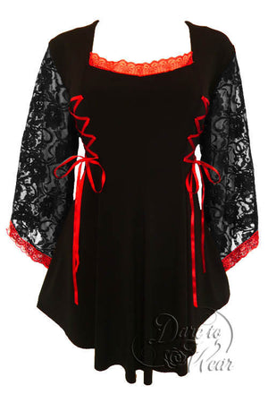 Dare To Wear Victorian Gothic Women's Plus Size Anastasia Corset Top Black/Scarlet