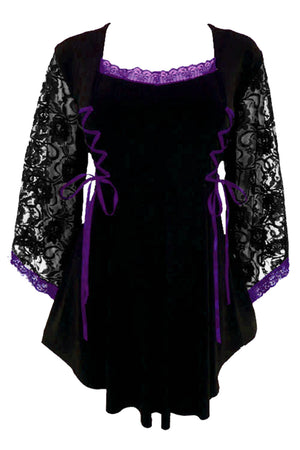 Dare to Wear Victorian Gothic Steampunk Anastasia Corset Top in Black/Purple
