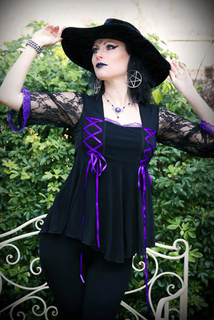 Lady Anna Calypso in Dare to Wear Victorian Gothic Steampunk Anastasia Corset Top in Black/Purple