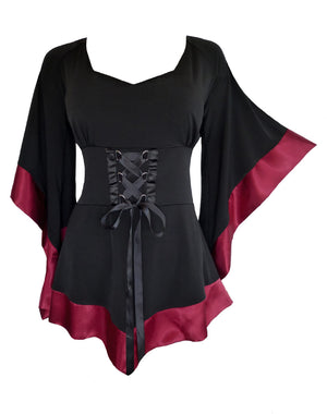 Dare to Wear Victorian Gothic Steampunk Treasure Corset Top in Burgundy