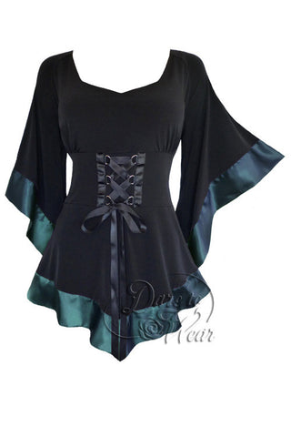 Dare To Wear Victorian Gothic Women's Treasure Corset Top in Teal