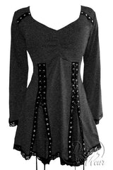 Dare To Wear Gothic Victorian Women's Electra Corset Top Charcoal