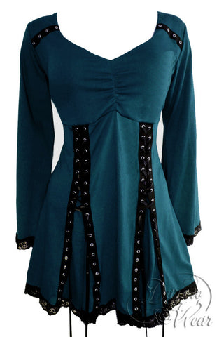 Dare To Wear Gothic Victorian Women's Electra Corset Top Dark Teal