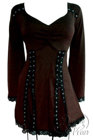 Dare To Wear Gothic Victorian Women's Electra Corset Top Walnut
