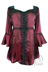 Dare To Wear Victorian Gothic Women's Plus Size Enchanted Top in Ruby