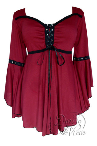 Dare To Wear Victorian Gothic Women's Ophelia Corset Top Burgundy