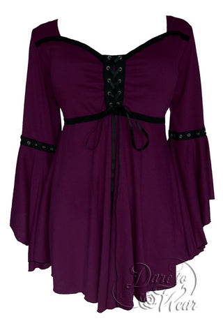 Dare To Wear Victorian Gothic Women's Ophelia Corset Top Plum