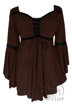 Dare To Wear Victorian Gothic Women's Ophelia Corset Top Walnut