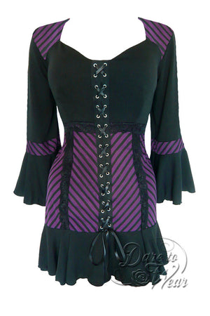 Dare To Wear Victorian Gothic Women's Cabaret Corset Top Purple Maze