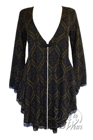 Dare To Wear Victorian Gothic Women's Plus Size Embrace Corset Sweater Olive Tarot