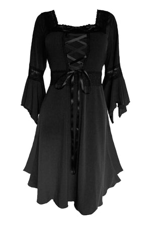 Dare to Wear Victorian Gothic Steampunk Renaissance Dress in Black
