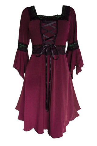 Dare to Wear Victorian Gothic Steampunk Renaissance Corset Dress in Burgundy