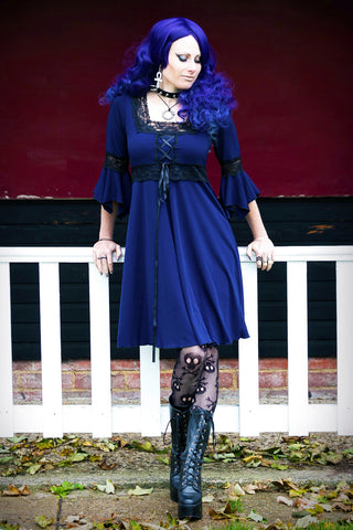 Lady Anna Calypso in Dare to Wear Dare to Wear Victorian Gothic Steampunk Renaissance Corset Dress in Midnight