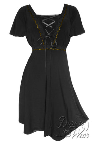 Dare To Wear Victorian Gothic Women's Plus Size Angel Corset Dress Black