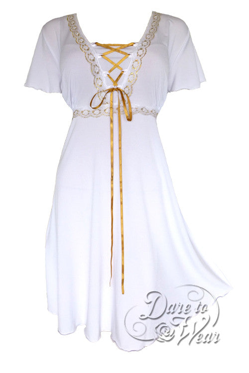 Dare To Wear Victorian Gothic Women's Plus Size Angel Corset Dress White