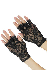 Black Lace Gloves with Short Fingers