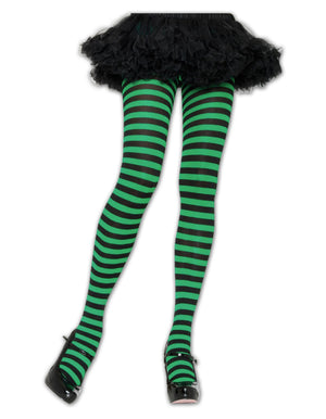 Black/Green Striped Tights