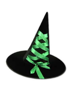 Black Velour Witch Hat with Green Ribbon