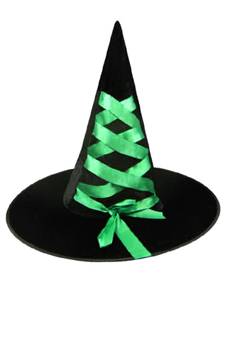 Halloween Witch Hat in Black/Green
