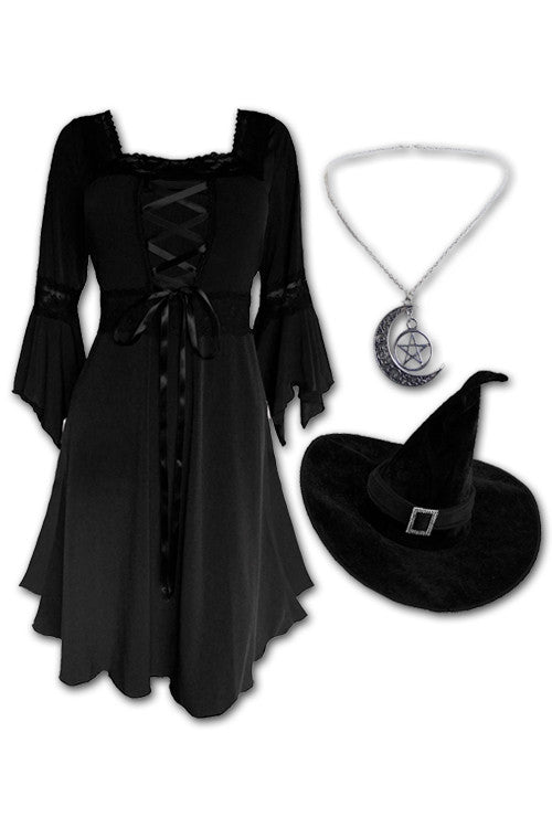 Dare to Wear Magick Witch Costume with Renaissance Dress in Black