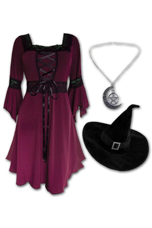 Dare to Wear Magick Witch Costume with Renaissance Dress in Burgundy
