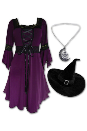 Dare to Wear Magick Witch Costume with Renaissance Dress in Plum