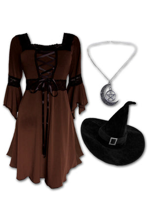 Dare to Wear Magick Witch Costume with Renaissance Dress in Walnut