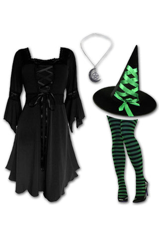 Dare to Wear Victorian Gothic Steampunk Sorceress Witch Costume with Black Renaissance Dress, Green